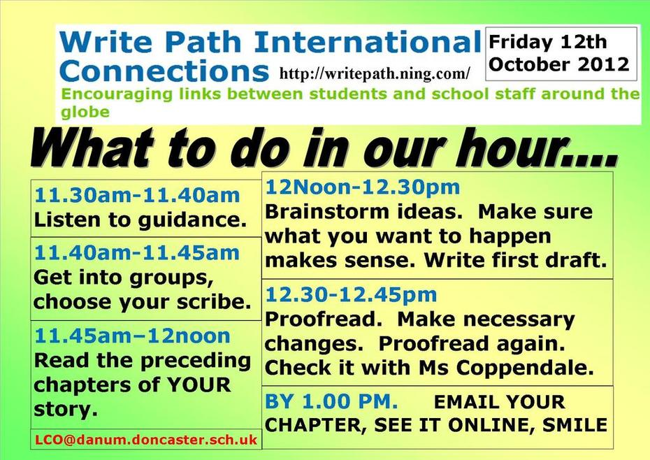 Write path writers timetable Friday 12th Oct