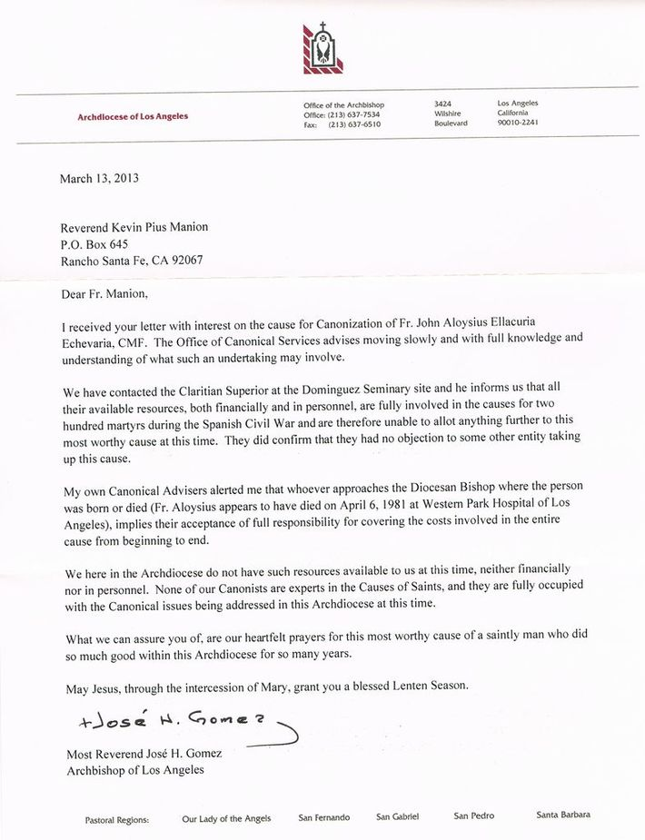 Archbishop Gomez letter of March 13, 2013