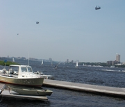 A Busy Day on Charles River: Helicopters