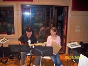 James Burton and me in a recording session
