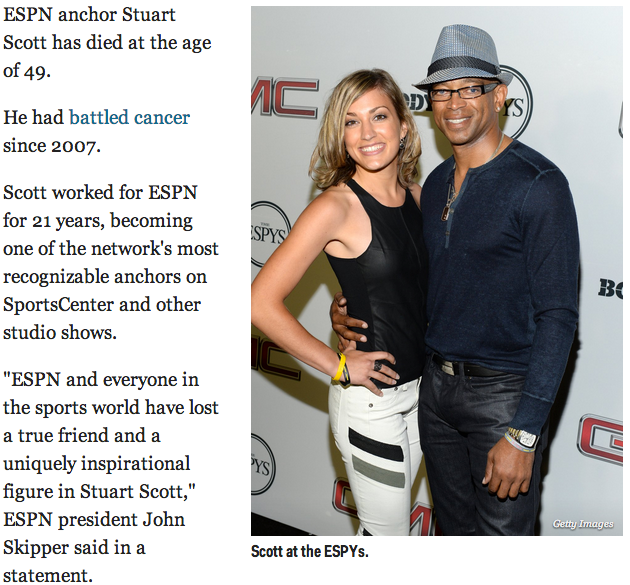 ESPN anchor Stuart Scott has died at the age of 49.