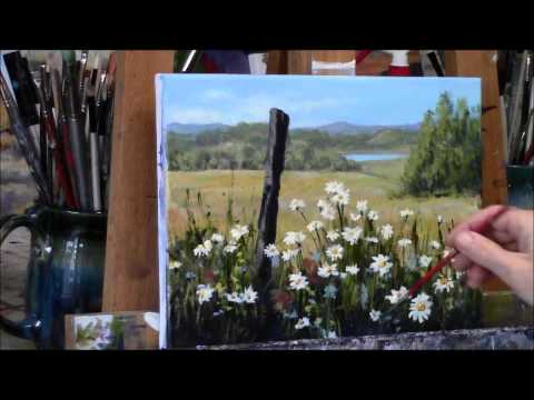 "Summer Daisies Country Acrylic Landscape Painting Demo ""Summer Daydream"" Part 2"