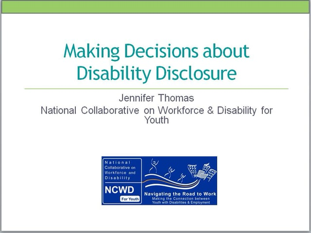 Webinar: Making Decisions About Disability Disclosure