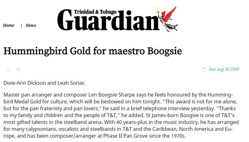 Master pan arranger and composer Len Boogsie Sharpe awarded Hummingbird Gold Medal - Sun, Aug. 30, 2009