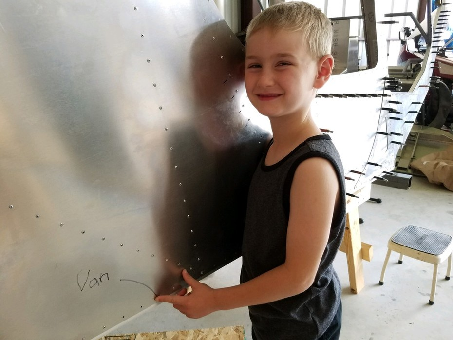 Grandson Van just pulled his first rivet...not too bad for 7 years old!