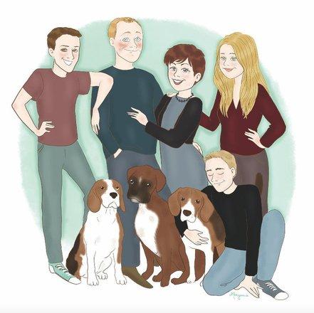 Portrait de famille illustré & personnalisé par Morgane Carlier