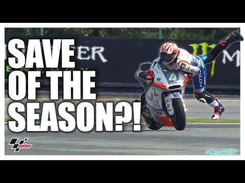 Steven Odendaal's unbelievable FP3 save! | Moto2™#CzechGP 2019