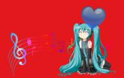 Hatsune Miku with heart balloon