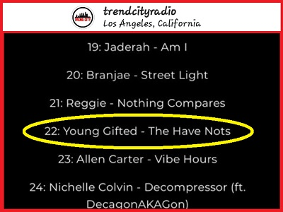 TREND CITY RADIO TOP 40 LIST FIRST WEEK OUT REACHING (#22) (THE HAVE NOTS) BY YOUNG GIFTED