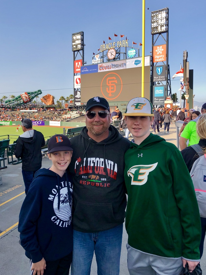 Oracle Park with the family, July 2019