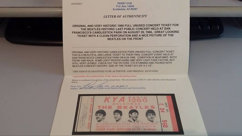Perry Cox COA For Candlestick Park Beatles Unused Ticket
