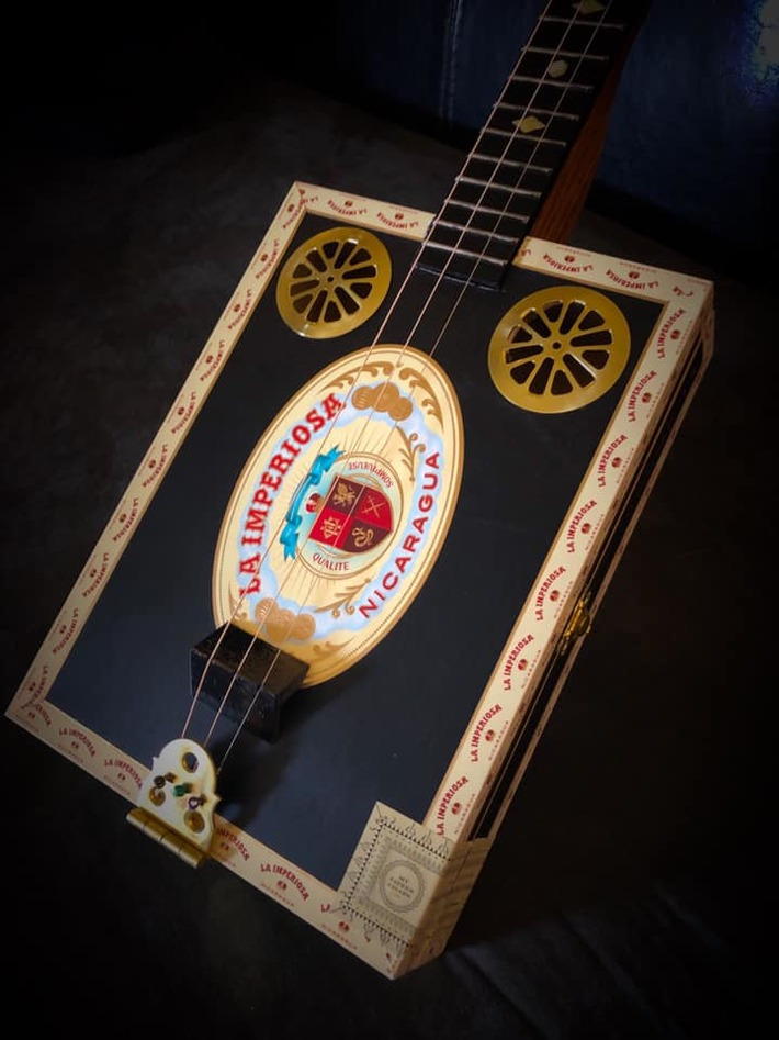 New Black & Gold Cigar Box Guitar