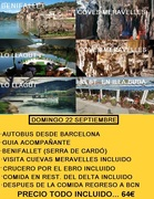 DOMINGO 22 SEPT. EXCURSION AL DELTA DEL EBRO, BENIFALLET+CUEVAS+CRUCERO+COMIDA REST.