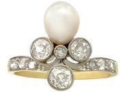 1.02 ct Diamond and Pearl, 14 ct Yellow Gold Dress Ring - Antique Circa 1910
