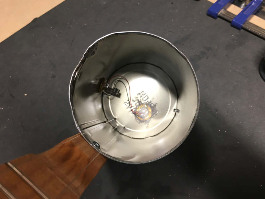 I electrified the canjo using a piezo and jack