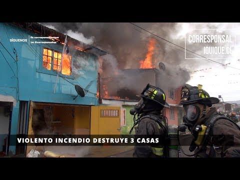 VIOLENTO INCENDIO DESTRUYE 3 CASAS EN IQUIQUE - CHILE
