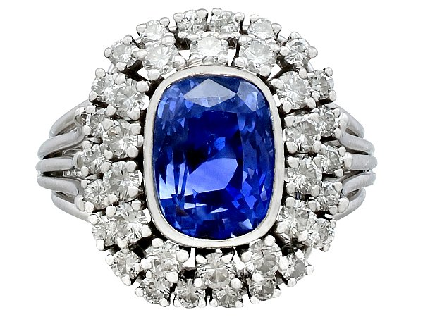 5.40ct Ceylon Sapphire and 1.45ct Diamond, 18ct White Gold Cluster Ring - Vintage French Circa 1980