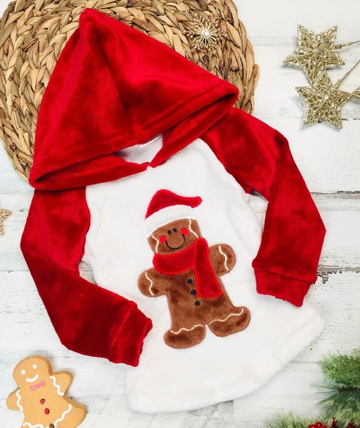 Girls Winter and Christmas Themed Fleece Plush Applique Hoodie