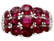 3.95ct Ruby and 0.20ct Diamond, Platinum Dress Ring - Vintage Circa 1950