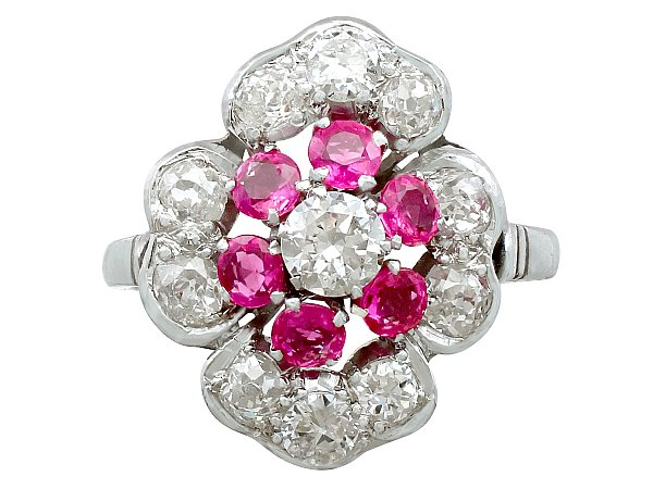 0.72 ct Ruby and 1.63 ct Diamond, Platinum Dress Ring - Vintage Circa 1940