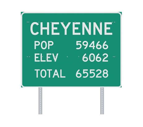 Fake highway sign, white lettering on green background: CHEYENNE / POP 59466 / ELEV 6062 / TOTAL 65528