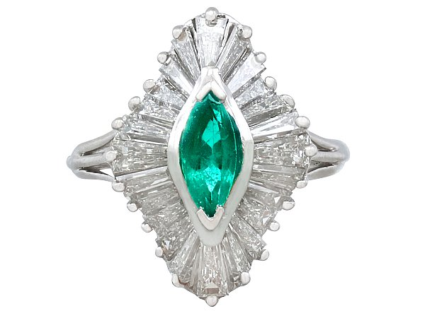 0.60ct Emerald and 1.85ct Diamond, Platinum Marquise Ring - Vintage Circa 1970