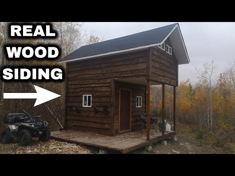 Offgrid Cabin Build Pt. 14 Real Wood Siding + Homemade Stain From Recycled Oil