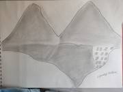 two mountain wth light pencle sketch