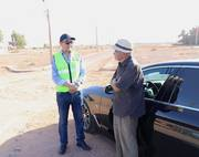 Mohamed Dekkak, President of Anouar Association, meets with the volunteers at one of the roundabouts which is currently getting landscaped and to be set with lights and irrigation in Ait Faska. #Anoua