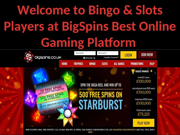 Welcome to BigSpins for Playing Online Bingo & Slots