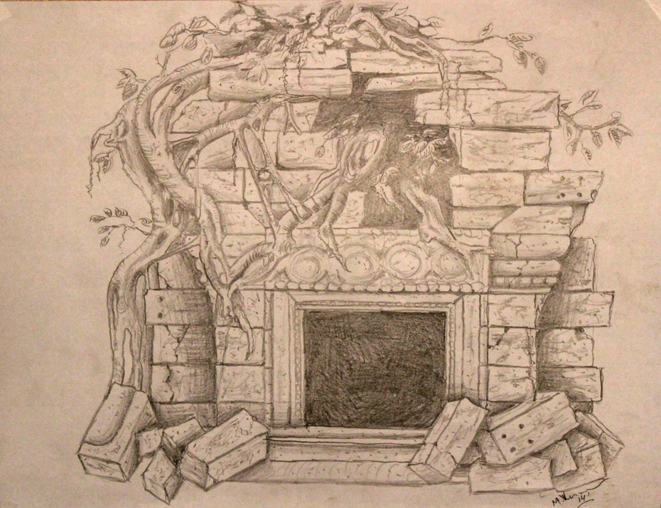 Myan themed fireplace surround.