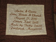 Wedding quilt label