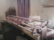 1st quilt loaded on homemade machine quilt frame