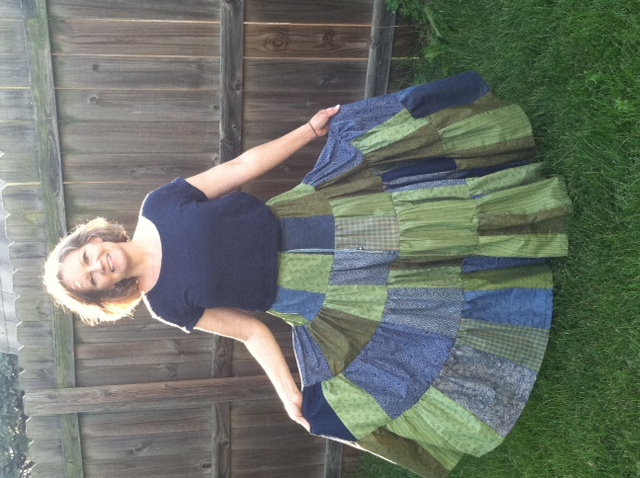 blue and green skirt