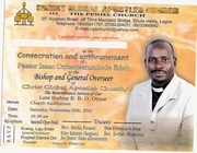 BE PART OF MY CONSECRATION AND ENTHRONEMENT SERVICE