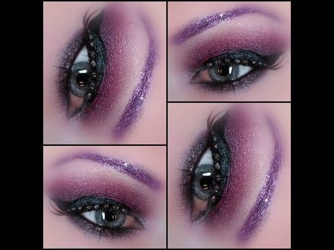 Reddish Purple Smokey Dragon - Makeup from Notoriously Morbid -  glitter brows