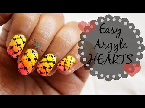 NO TOOLS NAILART | Argyle Hearts using TOOTHPICK!