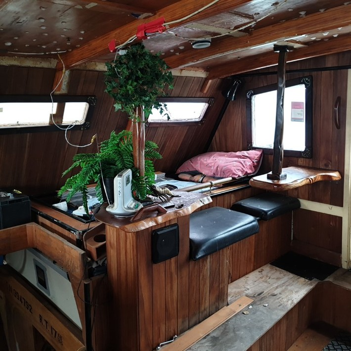 Starboard side of cabin before.