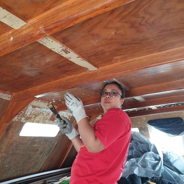 Cabin roof inside.