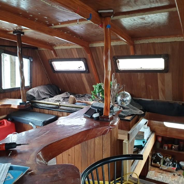 Port side of cabin.