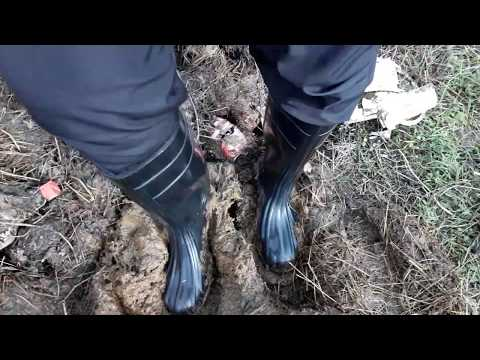 Rubber boots in manure