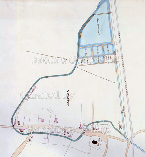 Map of Old Course of the New River through Hornsey 1861