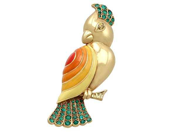 1.05ct Emerald and 0.35ct Sapphire, Enamel and 18ct Yellow Gold Bird Brooch by Boucheron - Vintage French Circa 1950
