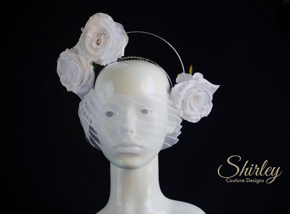 Floral halo headpiece with veil