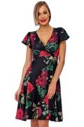 Rose Cap Sleeve Vintage Swing Dresses
