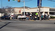 U S Troops Out of Iraq! No War on Iran!! protest at 41st & Yale, in Tulsa