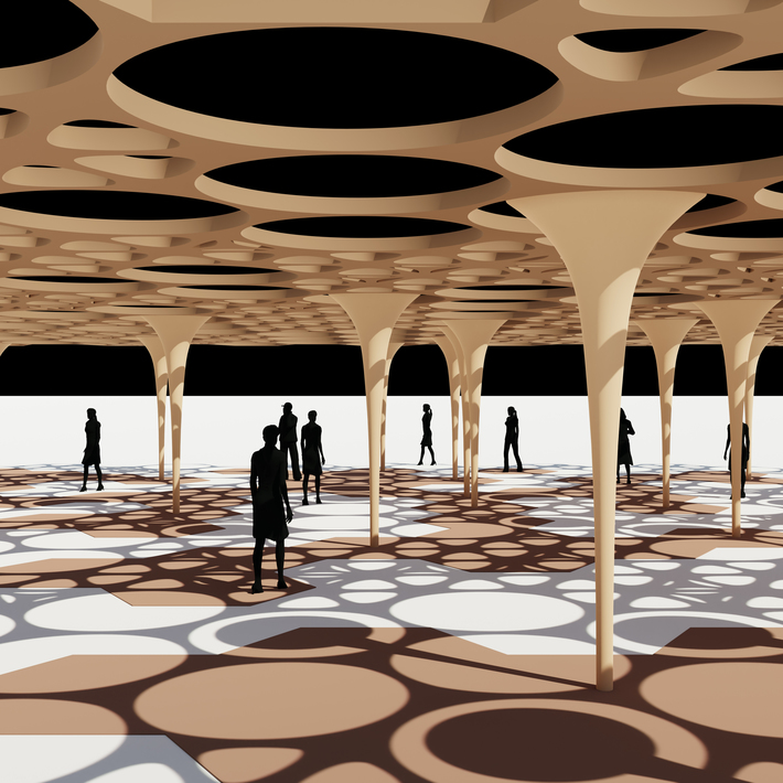 Hexagon and Circle Pattern Shade Pavilion