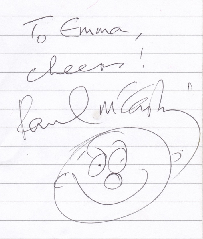 Paul McCartney Autograph With A Happy Face Sketch