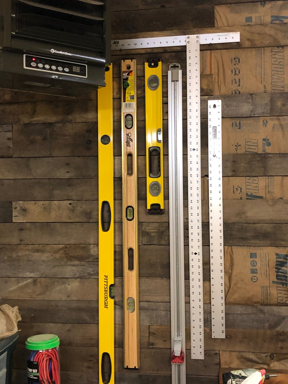 Tools hung on pallet wall