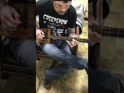 Jack Daniels custom built 3 string guitar demo testing